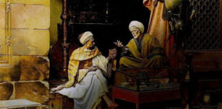 Duo orang intelektual muslim tengah saling berbincang